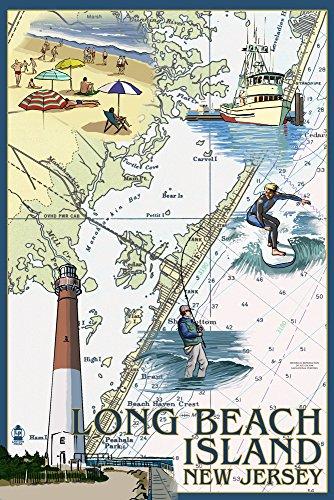 Long Beach Island, New Jersey - Nautical Chart (12x18 Signed Print Master Art Print w/Certificate of Authenticity - Wall Decor Travel (Long Beach Island Lighthouse)