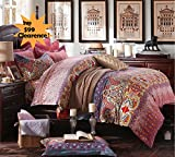 FADFAY Bohemian Exotic Colorful Ethnic Style Bedding Sets, Cotton Boho Style Bedding Set, Boho Duvet Cover, Queen King Size 4pcs (Queen)