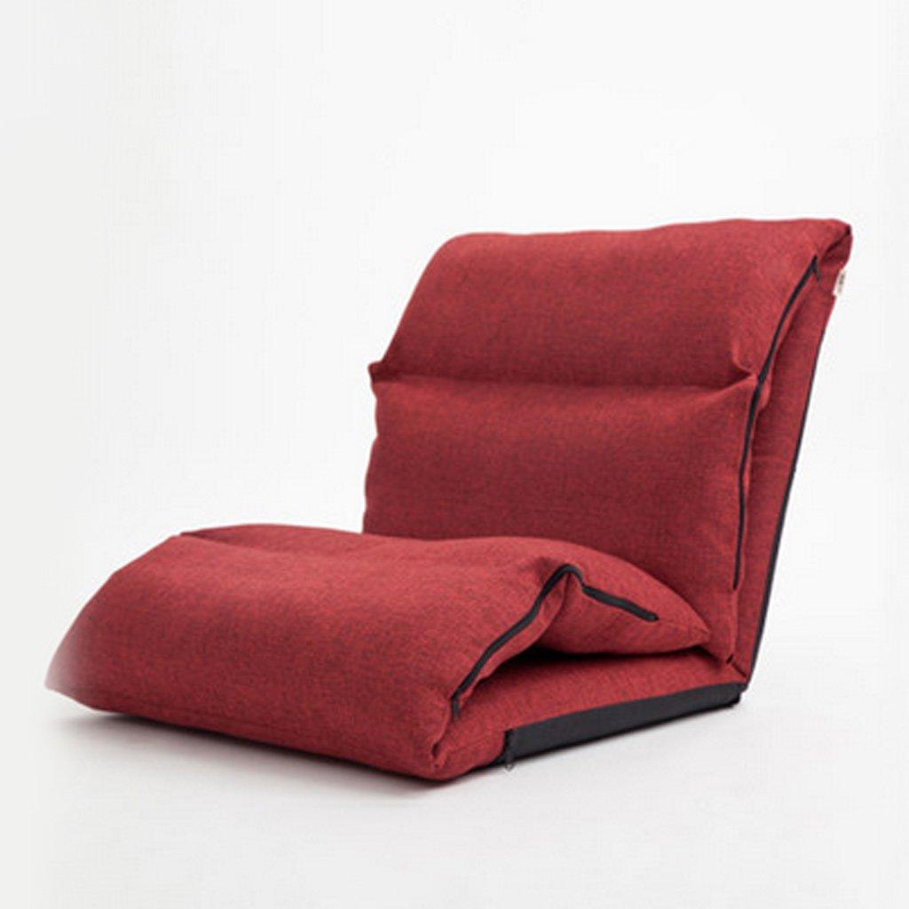 LQQGXL,Cushion, Creative lazy sofa thicker bedside sofa single sofa window sandwich chair ( Color : Dark red )