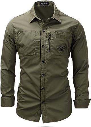 Camisas De Trabajo De Algodón De Manga Larga Táctica Camisa De Carga Militar: Amazon.es: Ropa y accesorios