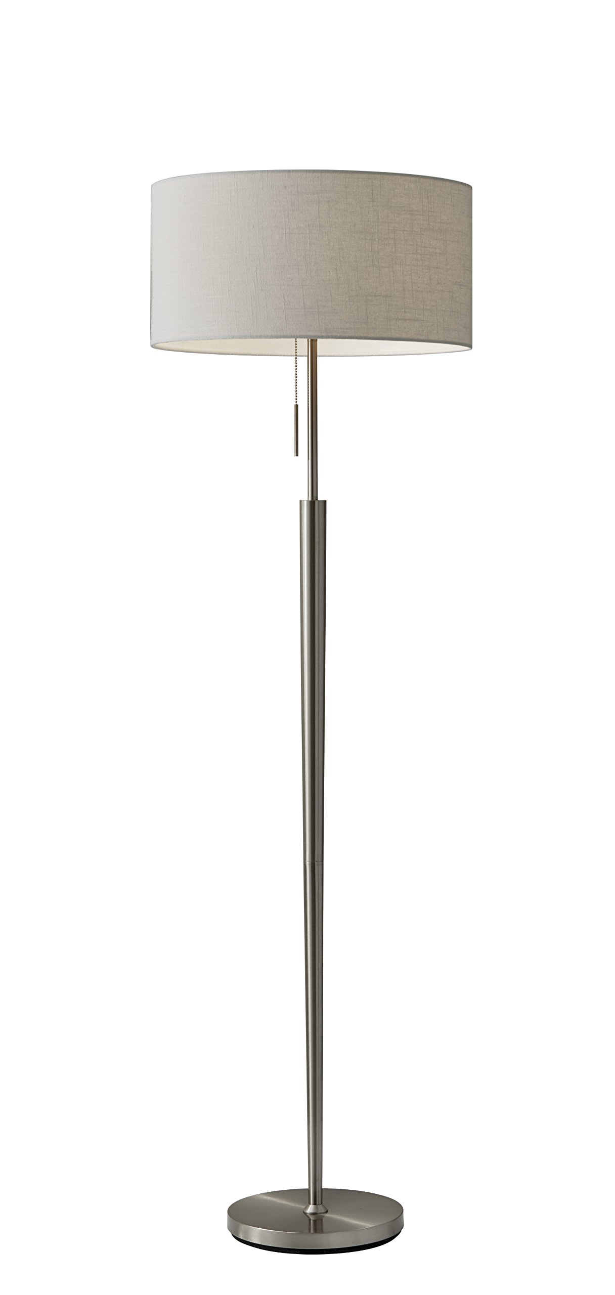 Adesso 3457-22 Hayworth 65'' Floor Lamp, Satin Steel, Smart Outlet Compatible