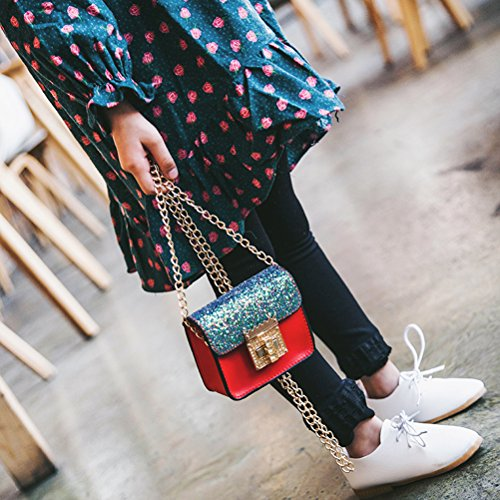 OULII Stilvolle PU Leder Kette Taschen Pailletten Tasche Schulter Handtasche Crossbody Handtasche Taschen für Mädchen Kinder (rot) JB7gK