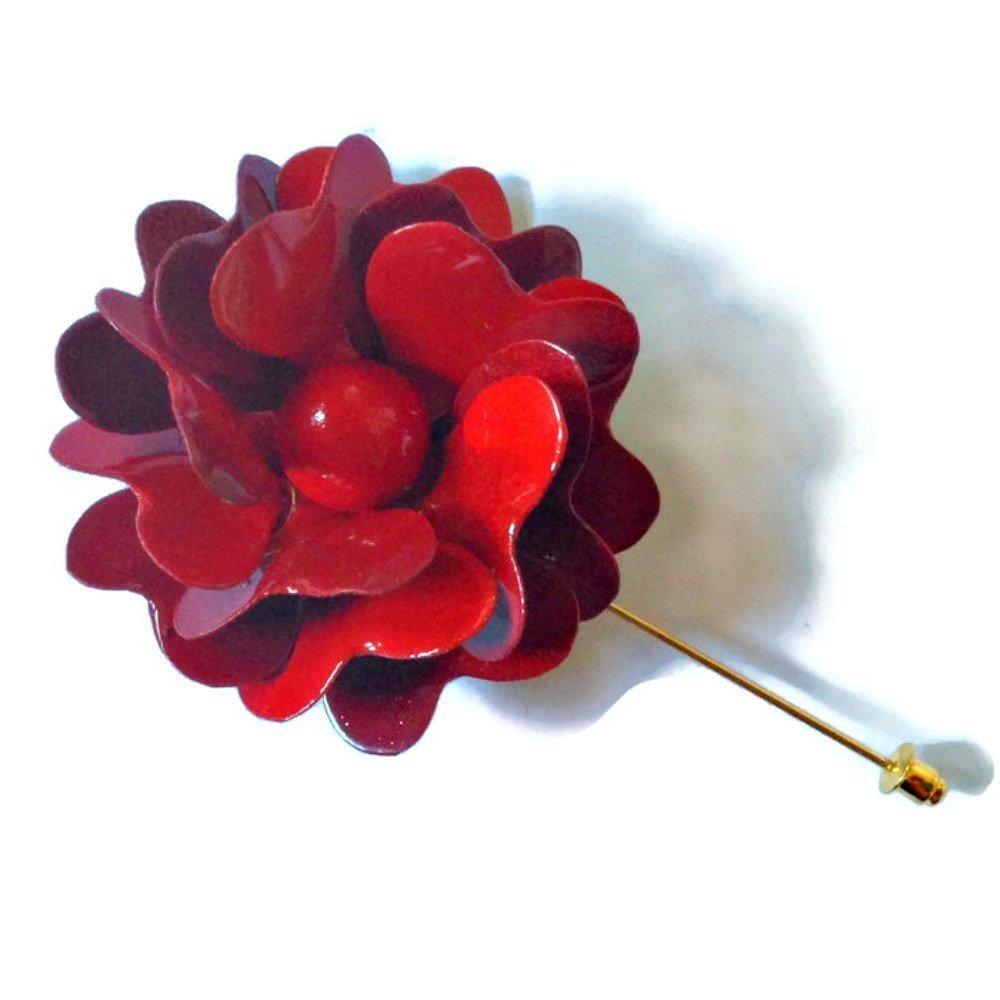 60s Style Red Flower Lapel Pin Metal Enamel Rose