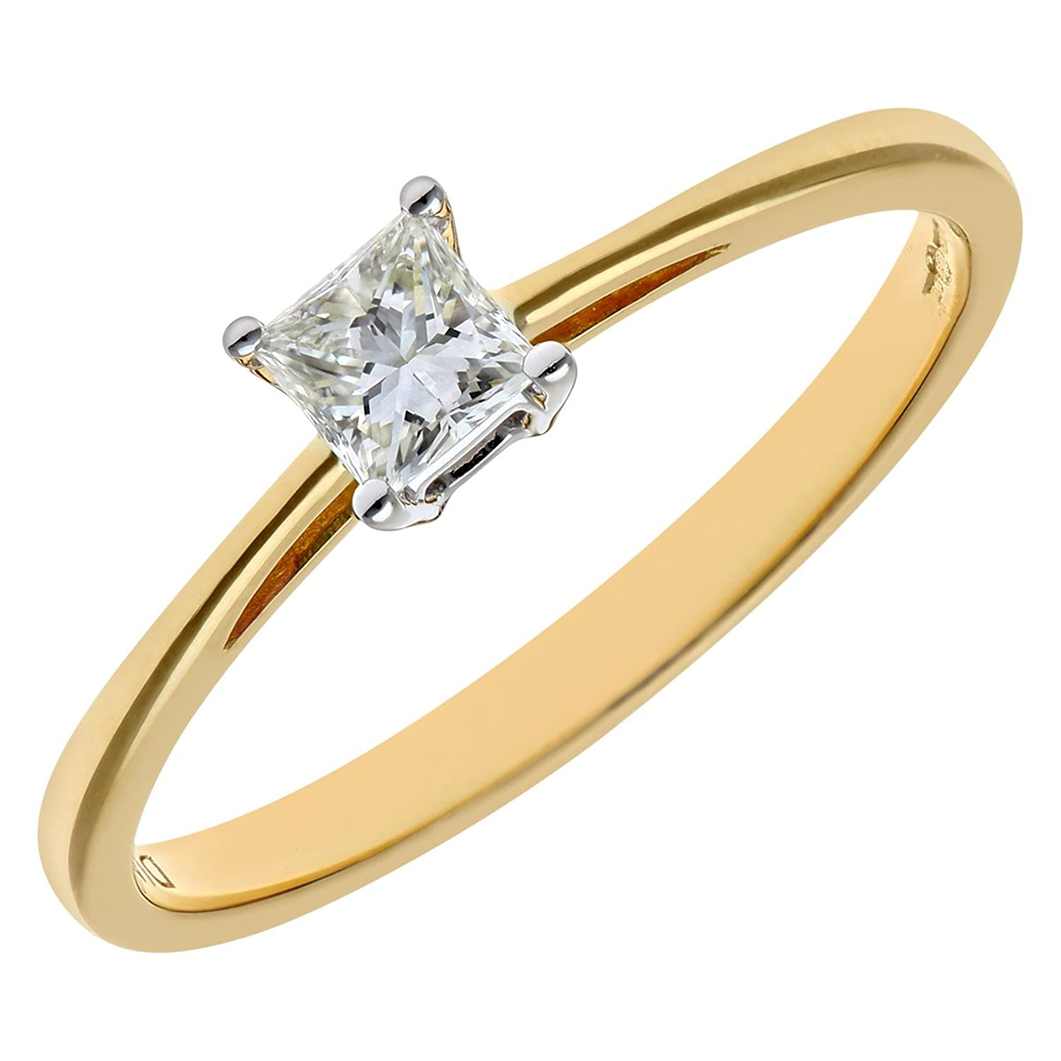 Naava Womens 18 Ct Yellow Gold Four Claw J I Certified Princess