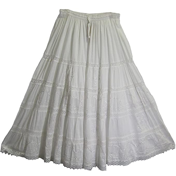16b40760d9e Amazon.com  Bohemian Blue Embroidered Lace 3-tier Gauze Cotton Long Maxi  Skirt  Clothing