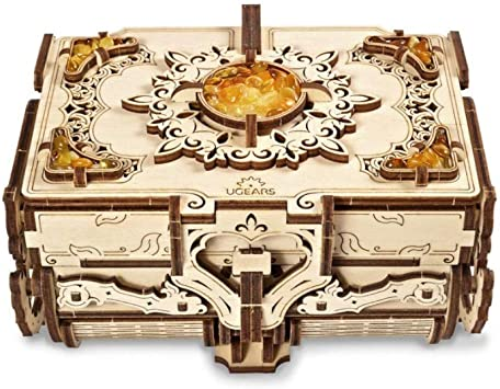 UGEARS Puzzle 3D Modelo mecánico - Cofrecito con Perlas de Ámbar Rompecabezas Adultos - Caja de Tesoro de