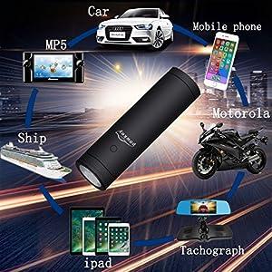 Weida Car portable Emergency start power, Mini flashlight power supply 8400 mA Professional car emergency start power supply (black)