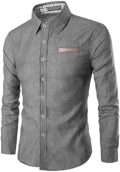 OKJI - Camisa de manga larga para hombre, diseño de rayas de ...