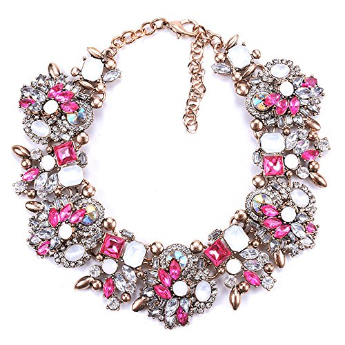 Zthread Bib Statement Necklace Colorful Glass Crystal Collar Choker Necklace for Women Fashion Accessories (Rose Pink+White)