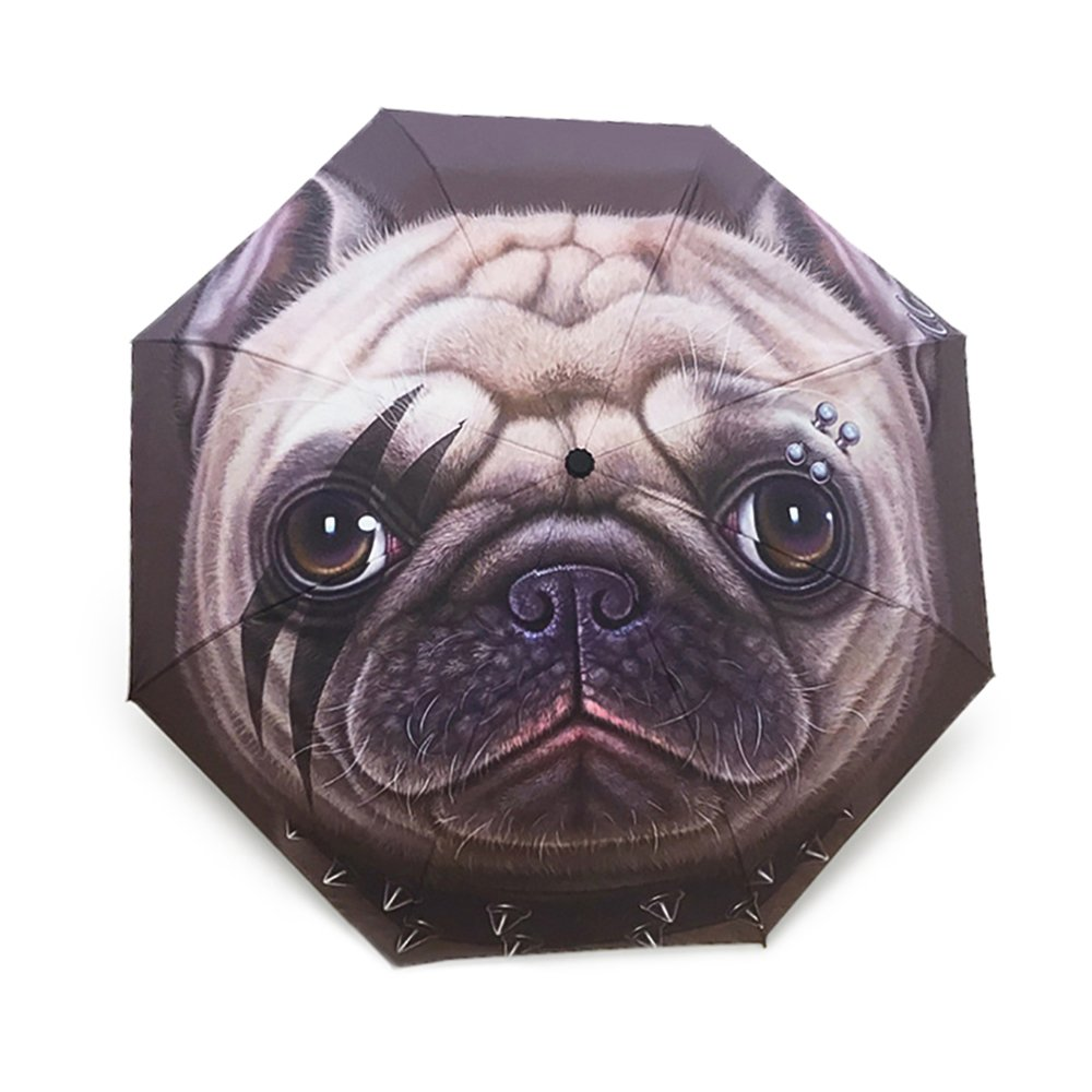 Kook面白い犬傘傘パターン旅行傘Auto Open Closeコンパクト雨太陽UV保護クリエイティブ折りたたみ動物画像面白い傘 B0748MM9RD Belldog Belldog
