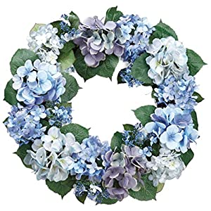 20 Inch Hydrangea Wreath, Artificial Hydrangea Blooms in Lavender and Blue on Natural Twig Base