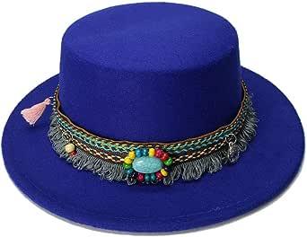 CHENDX Sombrero, Fashion Girl Fedora Porkpie Porkpie Bowler Hat Lana de niño Ancho Gorro Borla Banda de Cuero Turquesa Gorra Plana Exterior (54 cm/Ajustado)