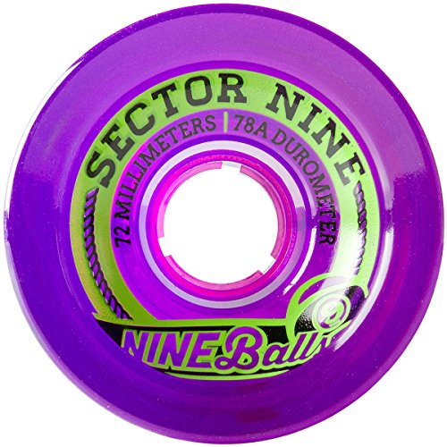Sector 9 Top Shelf Nine Balls Skateboard Wheel, Purple, 72mm 75A