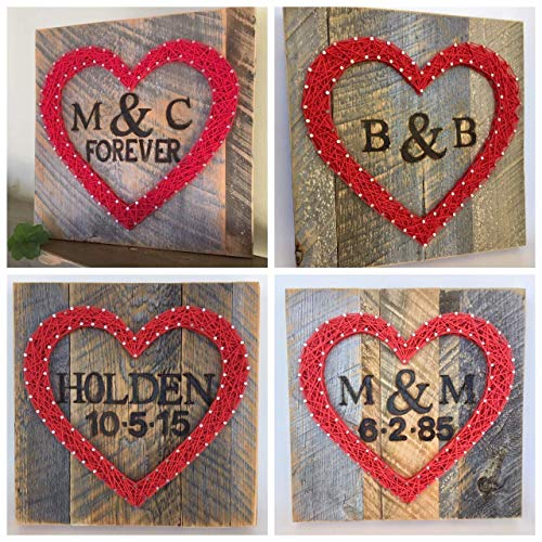 Custom signs. String art heart gift with branded names, initials, wedding date and forever sign. Unique Valentine's Day gift, Wedding or new baby gifts.