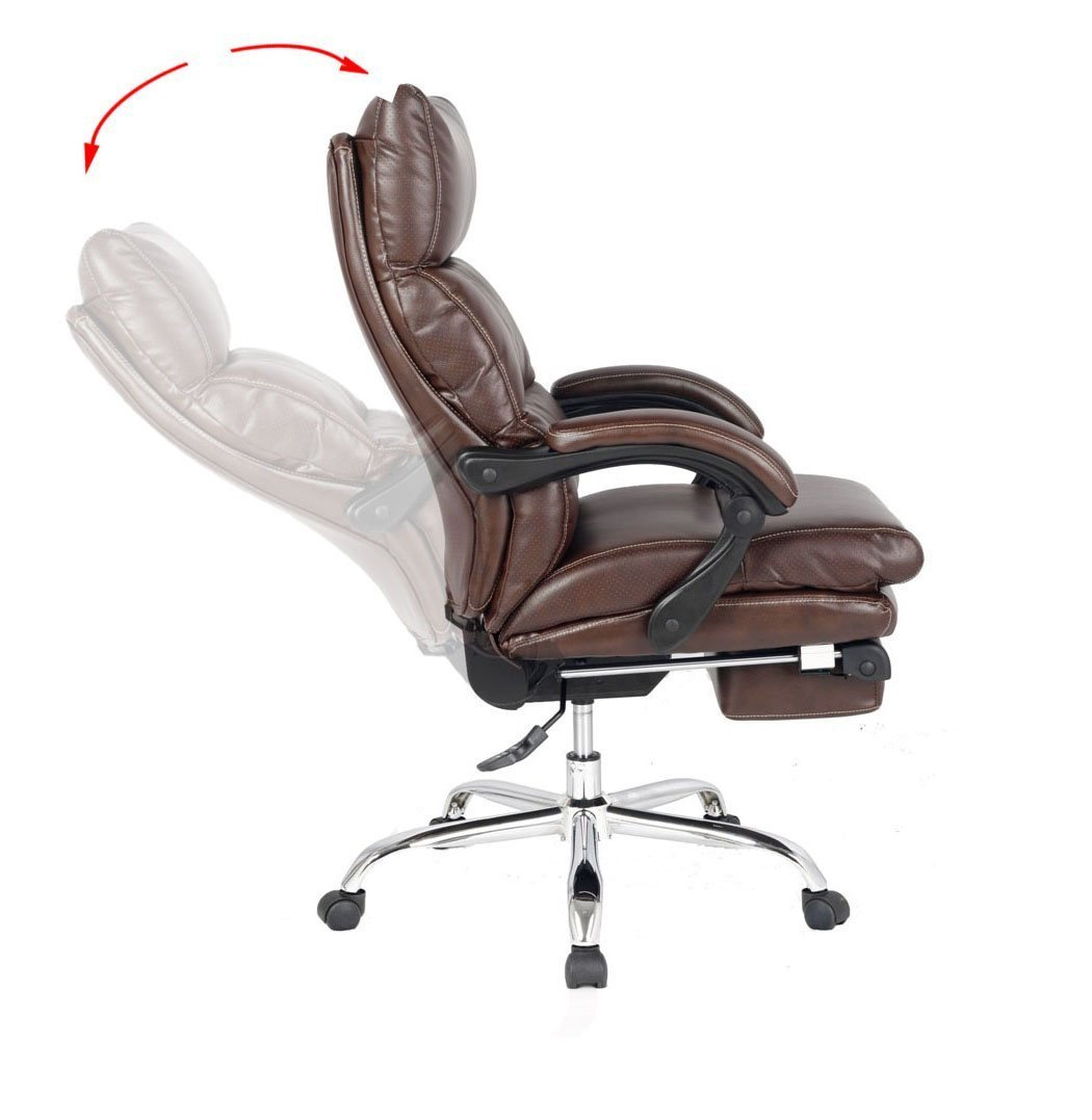 high back brown leather executive reclining office chair. amazon.com: viva office deluxe bonded leather reclining chair with footrest, brown: kitchen \u0026 dining high back brown executive office