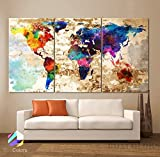 Original by BoxColors LARGE 30''x 60'' 3 Panels 30''x20'' Ea Art Canvas Print Original Watercolor Texture Map Old brick Wall Full color decor Home interior (framed 1.5'' depth)