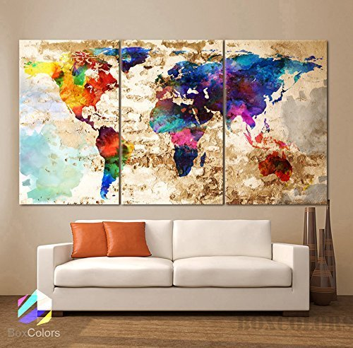Original by BoxColors LARGE 30''x 60'' 3 Panels 30''x20'' Ea Art Canvas Print Original Watercolor Texture Map Old brick Wall Full color decor Home interior (framed 1.5'' depth) by BoxColors