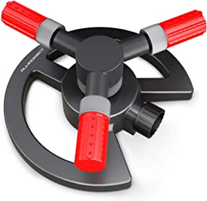 Almadirect Lawn Sprinkler - Garden Water Sprinkler - 3 Arm Automatic 360 Degree Rotating Sprinkler - Adjustable Irrigation System - Large Area Coverage Water Hose Sprinklers for Yards and Gardens