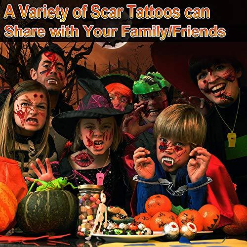 Zombie Makeup,Halloween Makeup,11 Unique Sheets,Fake Blood ,Scar Tattoo,Halloween Tattoos Fake Blood Makeup Vampire Makeup, Enjoy Halloween Makeup Kit Zombie Tattoos,11 Sheets,61 Pics Fake Scars Cuts