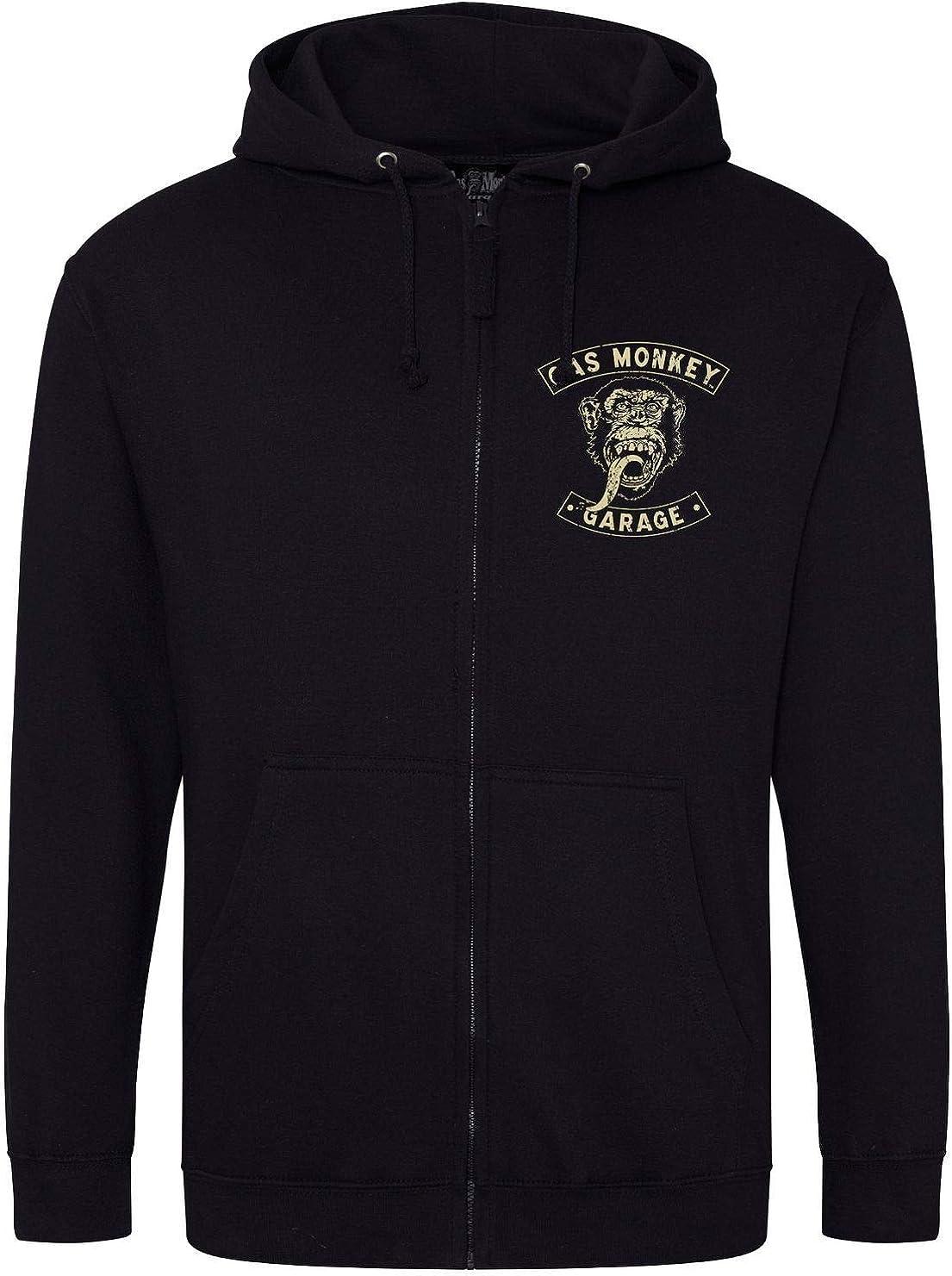 Gas Monkey Garage Hoodie Distressed Logo Zip Hoody Official Black Mens Fast Loud