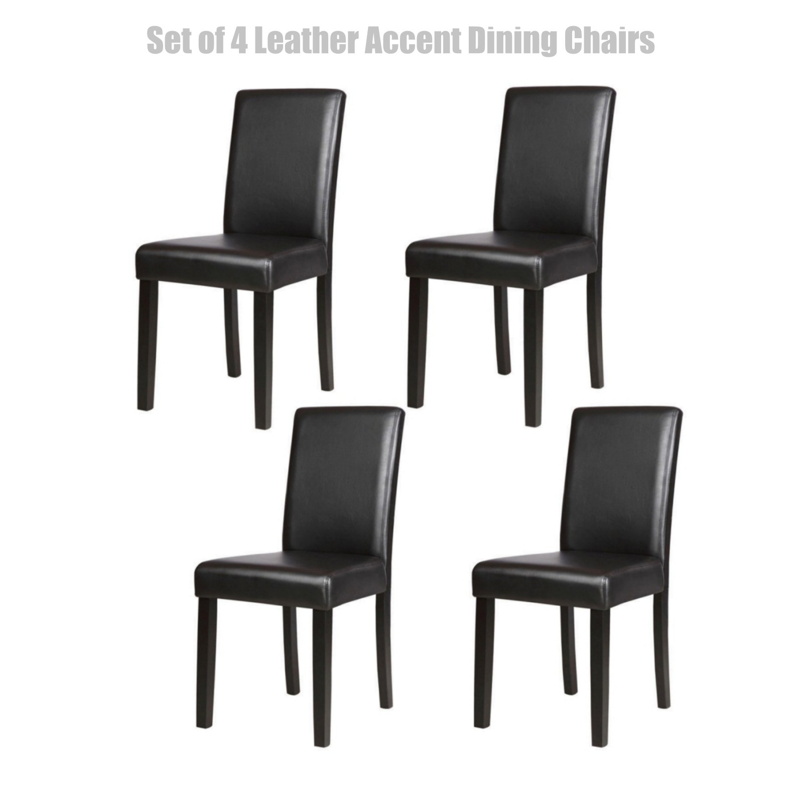 Modern Design Dining Chairs Sturdy Wooden Frame Waterproof Half PU Leather Seat Home Office Furniture Set of 4 Black #1448b