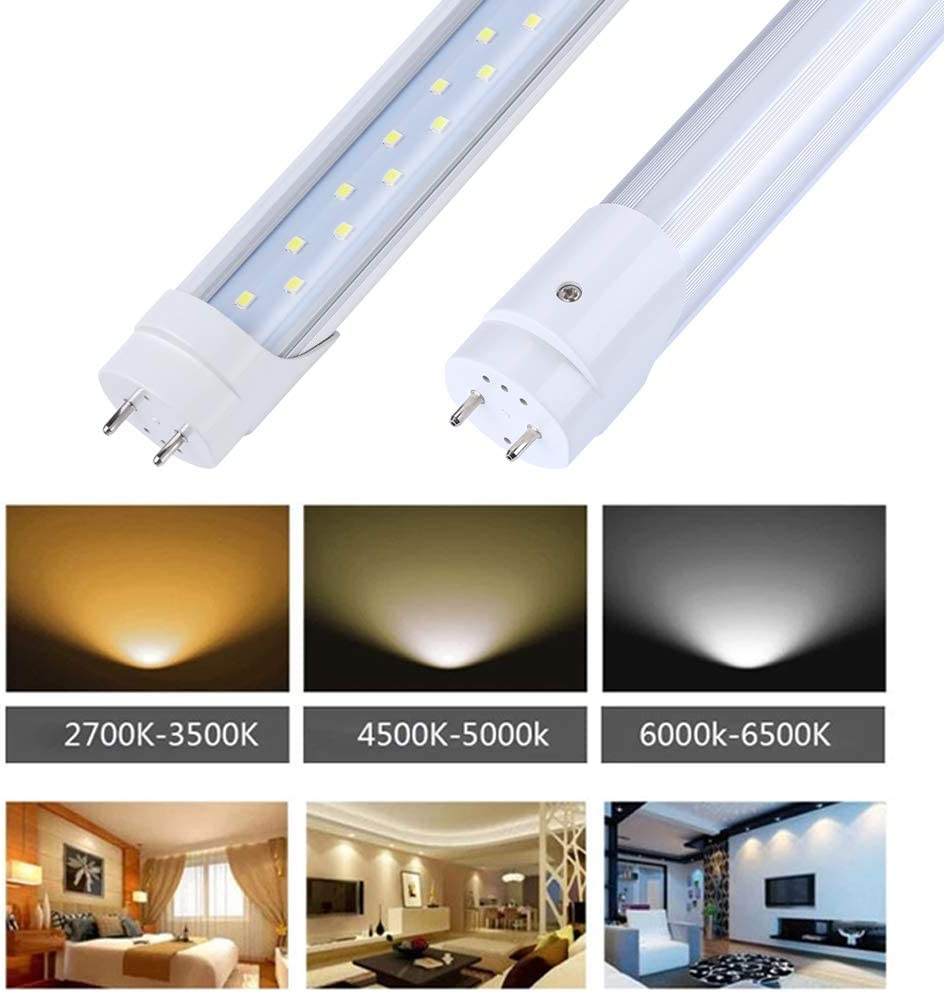 80W Equivalent Bypass Ballast Dual-End Powered Clear Cover AC 85-277V 4 Pack T8 4ft Led Tube Light Replacement 5000k T10 T12 G13 28w 2 Row Daylight White 3360 Lumen