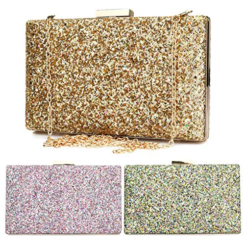 Evening Two Handbag Straps Women's Female Women Clutch Shoulder Sequined Chain Party Gold Gold Bag ULKpiaoliang Solid Bag Bag gwX6z1q