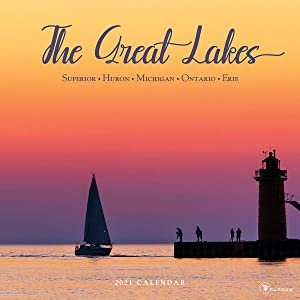 """TF PUBLISHING 2021 Great Lakes Monthly Wall Calendar - Photographs - Planner with Contacts and Notes Space - Enhance Home or Office Planning and Organization - Premium Gloss Paper 12""""x12"""""""