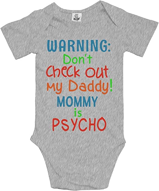 Embroidered Baby T-Shirt Gift Fun Mummy is a Psycho Don/'t Checkout my Daddy