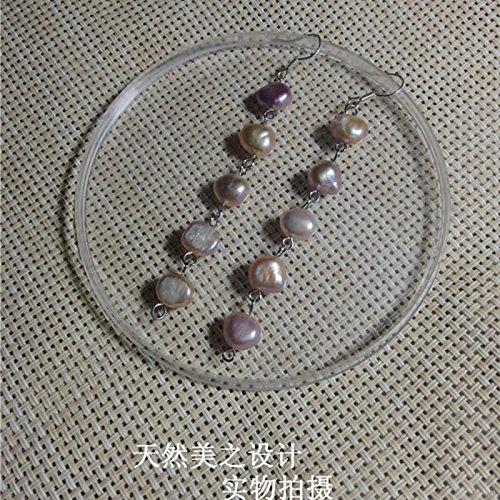 usongs Irregularly shaped baroque pearl tassel earrings natural freshwater pearl earrings long section purple ear jewelry