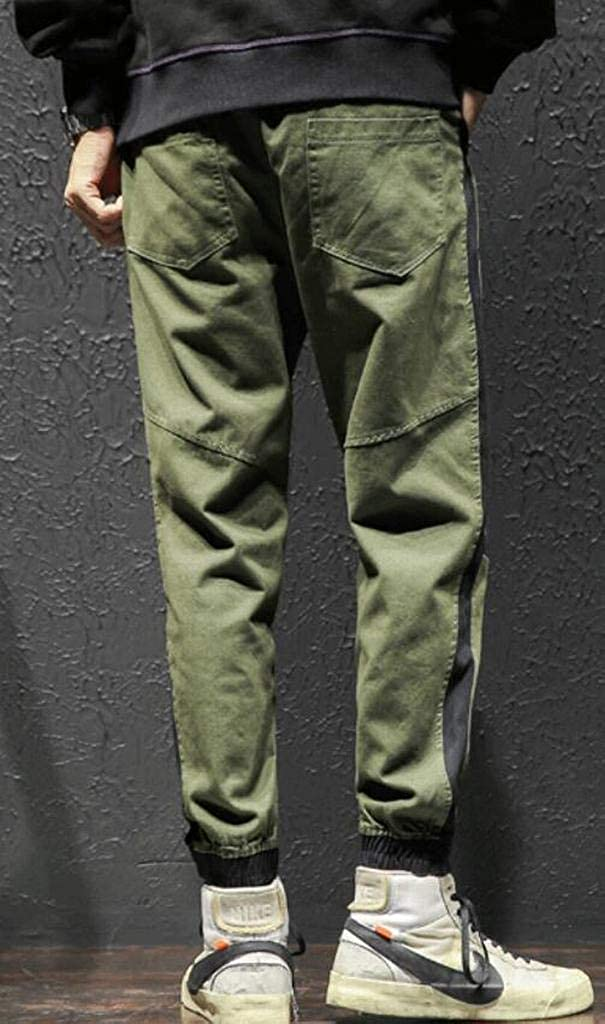 YYG Men Elastic Waist Plus Size Drawstring Color Block Harem Pants Casual Pants