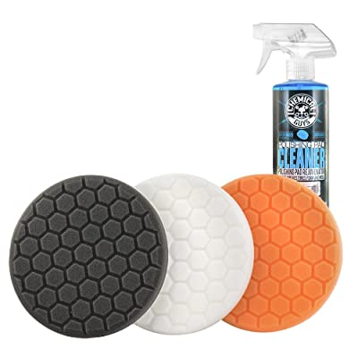 "Chemical Guys HEX_3KIT_5 5.5"" Buffing Pad Sampler Kit, 4 Items - (1) 16 oz Polishing Pad Cleaner + (3) 5.5"" Buffing Pads that Work with 5"" Backing Plates: Automotive"