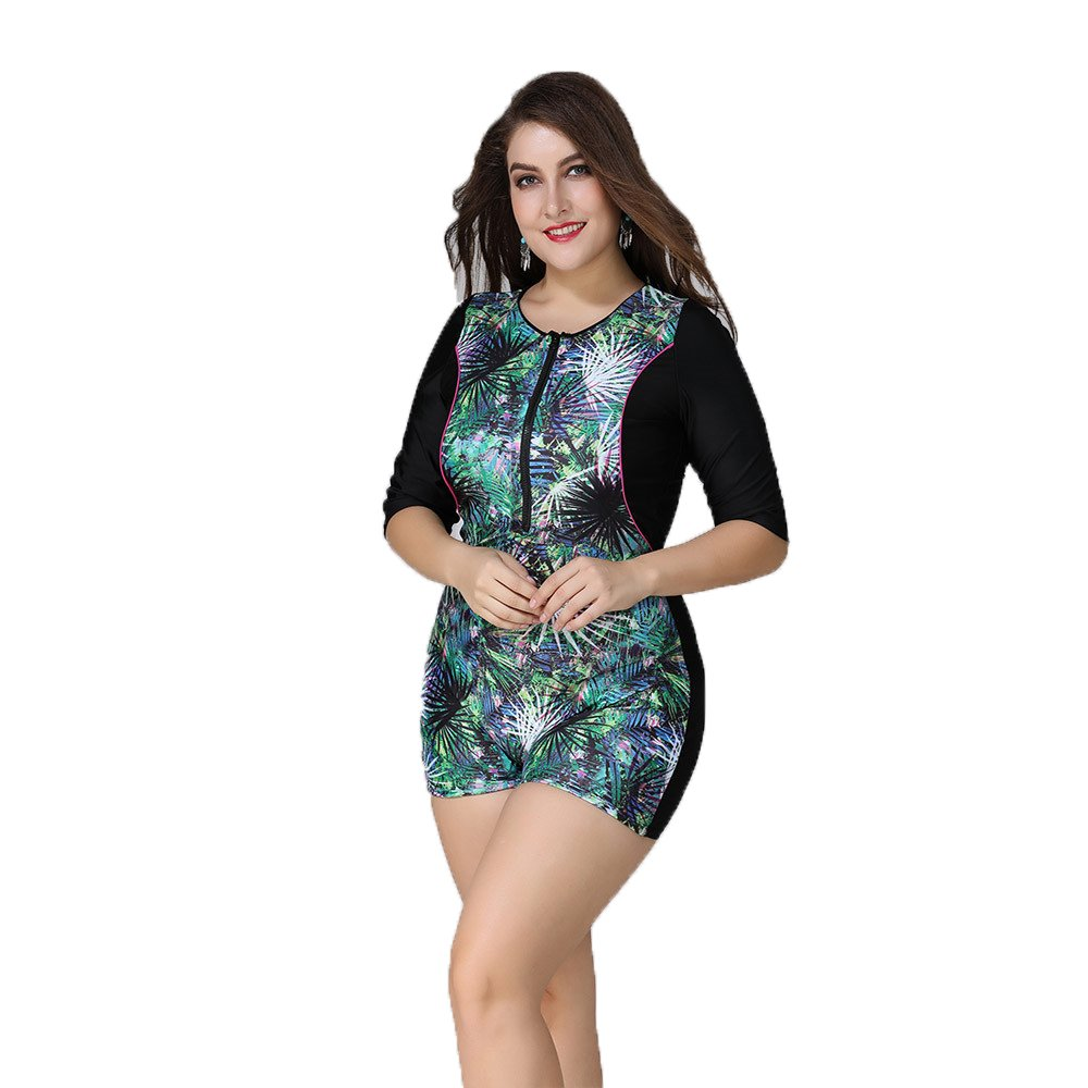 Wellwits Women's Plus Size Half Sleeves Tropical Leaf Boy-Leg Rash Guard Swimsuit