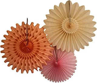 product image for Devra Party 3-Piece Tissue Paper Fans, Pink Peach Blush, 13-18 Inch