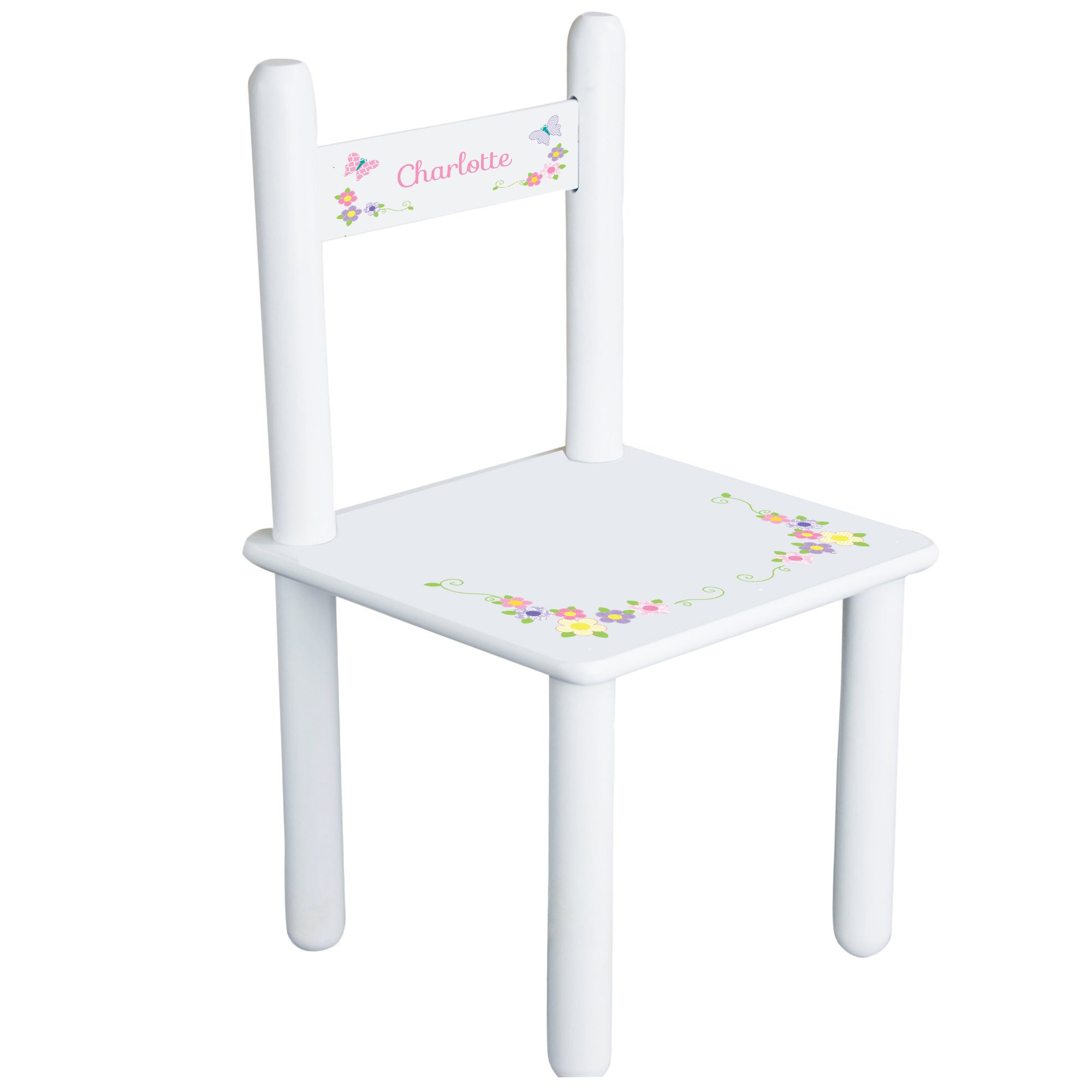 Personalized Pastel Butterfly Garland Child's Chair - white
