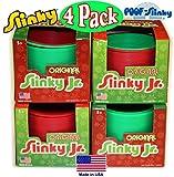POOF-Slinky Original Plastic Slinky Jr. Red & Green Holiday Gift Set Bundle Assortment - 4 Pack