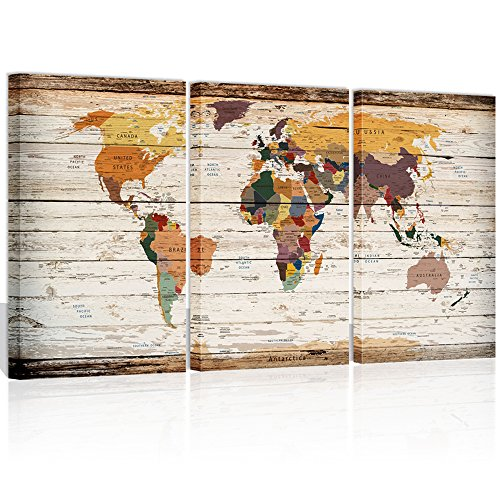 Visual Art Decor Decor Xlarge 3 Piece Retro Wood Texture Push Pin Map of World Wall Art City Name Picture on Canvas Framed Map Modern Home Office Decoration (00 City Map) Wood Framed Canvas