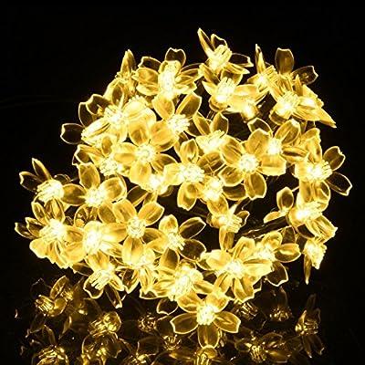 Solar String Lights, DecorNova 20 Feet 50 LED Crystal Flower String Lights with Waterproof Solar Panel for Outdoor Garden Patio Yard Christmas, Warm White