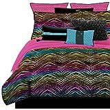 Veratex 460272 Rainbow Zebra Bed-In-A-Bag Micro-Fiber, Multicolored, Queen