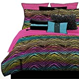 Veratex Stylish Rainbow Zebra Youth Micro-Fiber Fabric Patterned Bedroom Bed-In-A-Bag, Queen Size, Multicolored