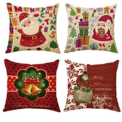 Ogrmar 4PCS 18x18 Christmas Throw Pillow Covers Fall Decorative Couch Pillow Cases Cotton Linen Autumn Pillow Square Cushion Cover for Sofa, Couch, Bed and Car (Christmas-C)