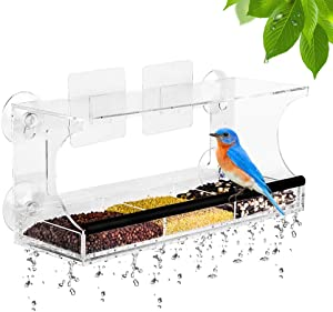 OUTCREATOR Window Bird Feeder w/ 4 Strong Suction Cups & 2 Adhesive Hooks, Drainage Holes,3-Sectioned Removable Food Tray,Easy to Fill & Clean for Wild Birds,Weatherproof,Outdoor Acrylic Bird House
