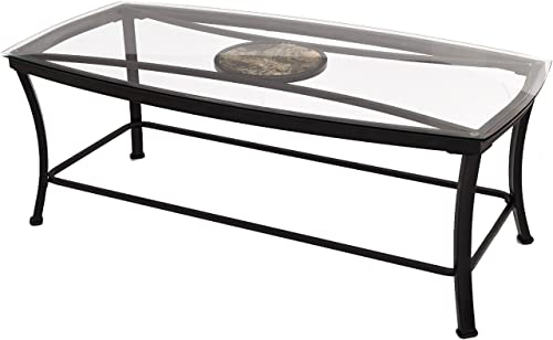 Joveco Black Curved Metal Frame and Tempered Glass Table Top Rectangular Coffee Table