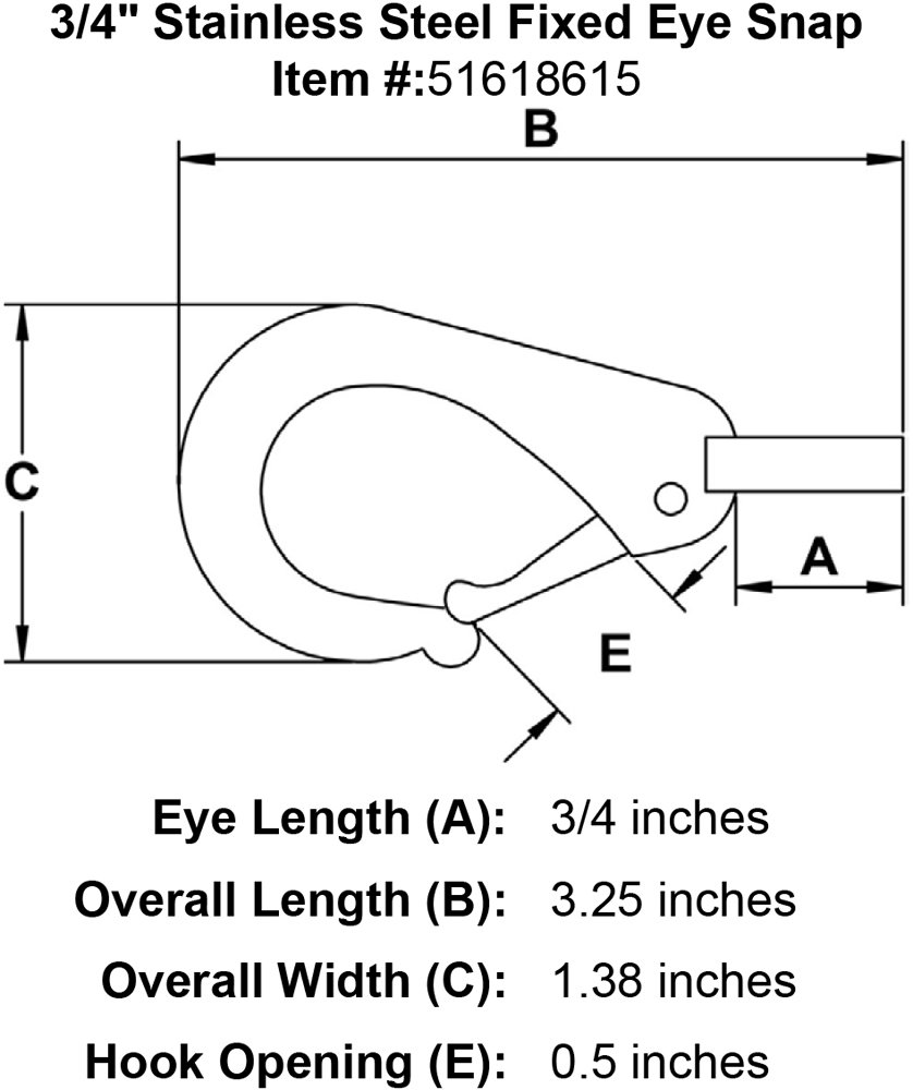 3//4 Stainless Steel Fixed Eye Snap
