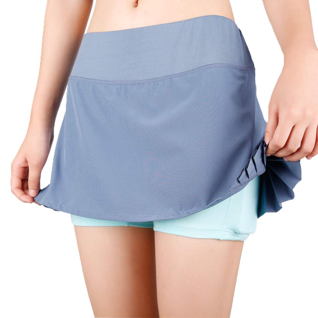 ZOANO Women's Tennis Skirt Athletic Skort with Pockets for Running Golf Workout(GREY,L/12)
