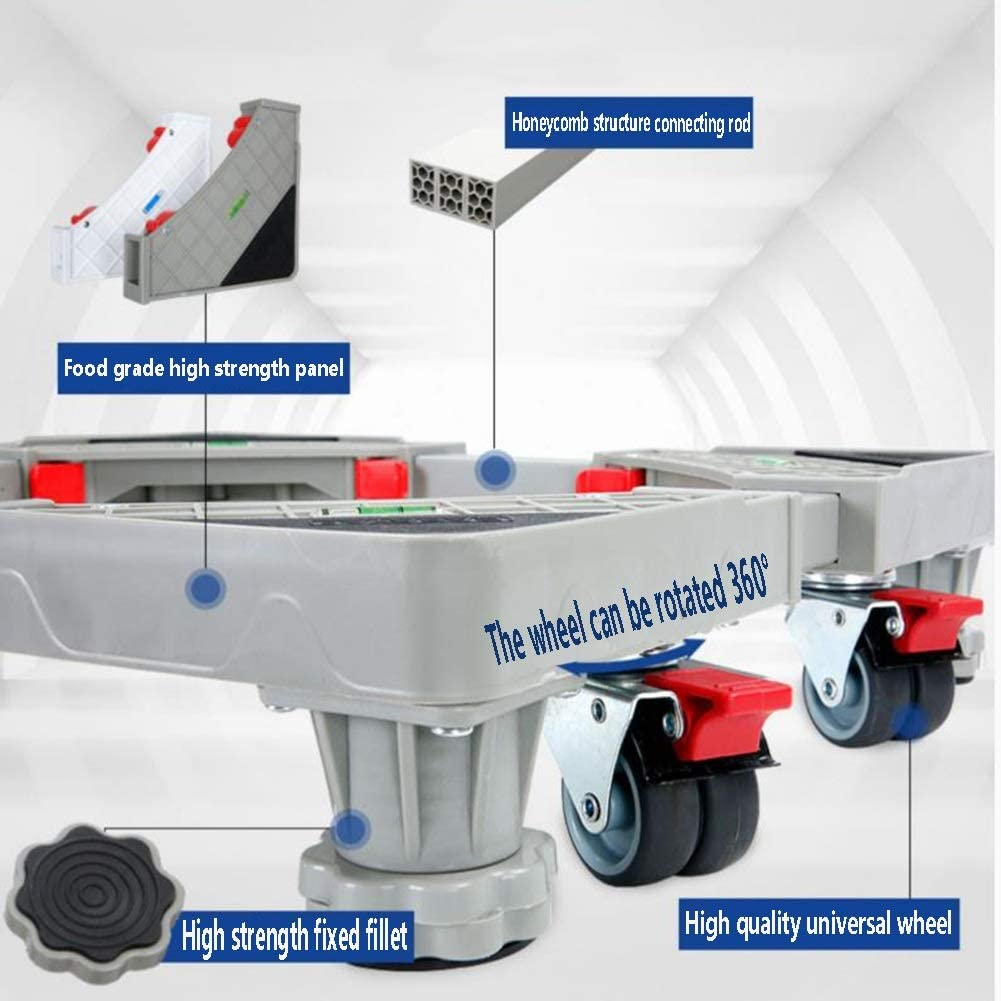 Color : Gray, Size : 4 feet 4 Wheel 2 Styles Movable Base-XXIOJUN Washing Machine Base,Adjustable Stands Universal Wheel Shock Absorbers Durable Environmentally Friendly PP