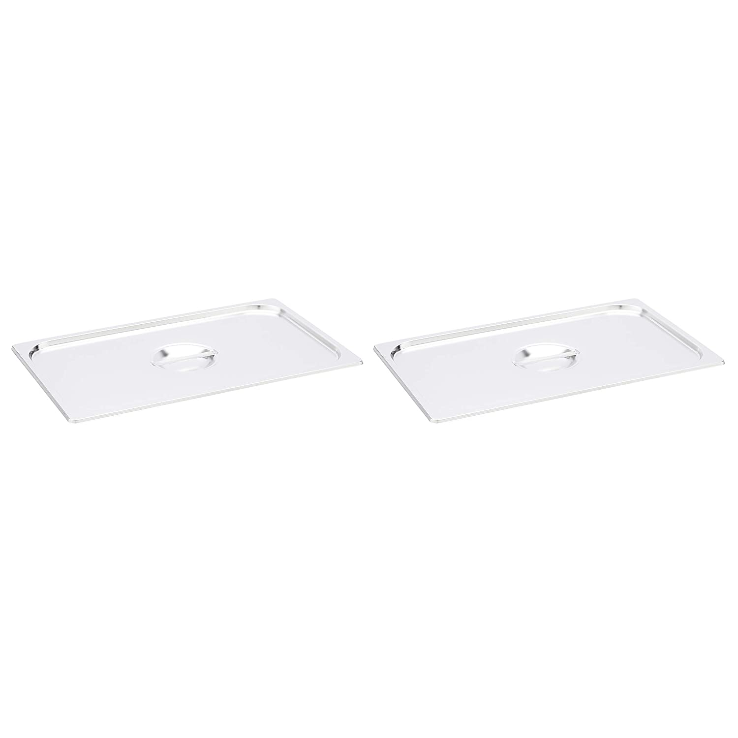 AmazonCommercial Full Size Stainless Steel Solid Steam Table/Hotel Pan Cover, Pack of 2