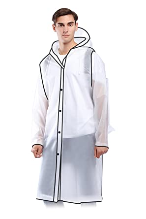 93f001ad4 Transparent Raincoat- Clear Edgy PVC Long Lightweight Raincoats for Mens  Women Adult- Waterproof Plastic