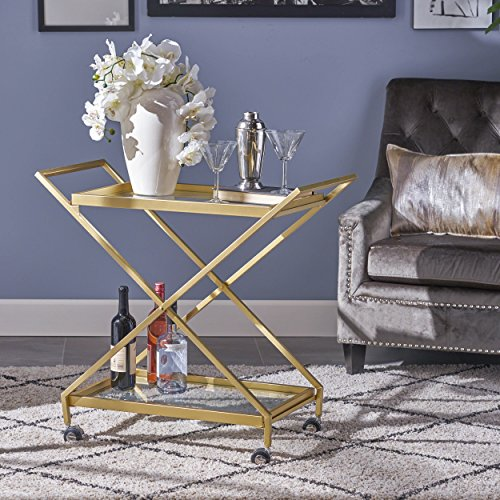 Easter Indoor Industrial Iron and Glass Bar Cart, Gold by Great Deal Furniture