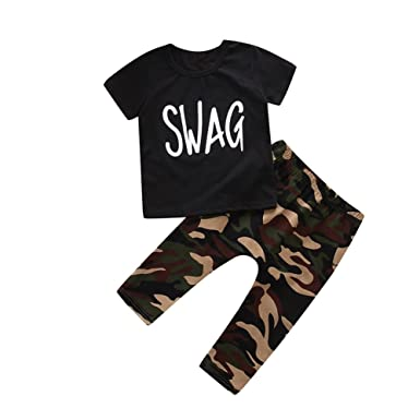 64d3b06f0 HBER 1-6Y Toddler Baby Little Boys Clothes Short Sleeve Black T-Shirt +  Camo Pants Swag Outfits Sets: Amazon.co.uk: Clothing